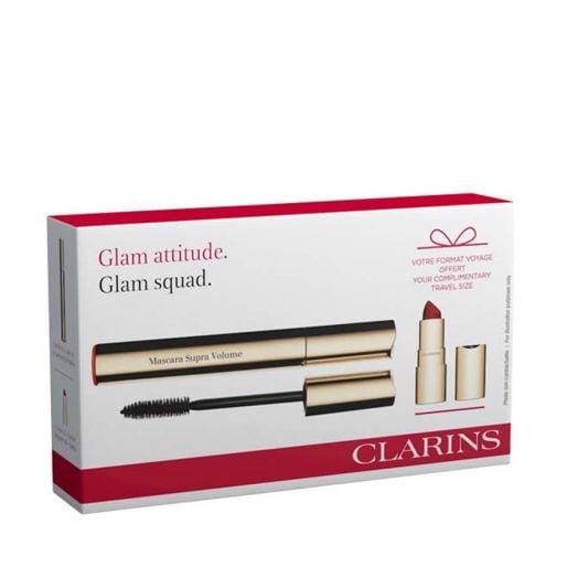 Clarins Set Glam Squad Mascara Supra Volume + Joli Rouge Velvet