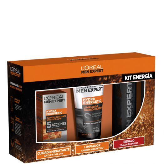 L'oreal Men Kit Energía Cuidado Hidratante Anti-fatiga + Gel Limpiador + Toalla De Ducha Estuche