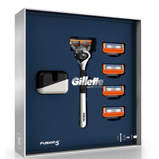 Gillette Gillette Fusion Limited Edition Pack Mango Cromado, 4 Recambios Y Soporte Estuche
